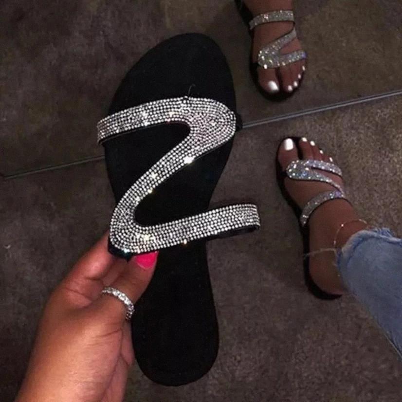 Women Sandals Woman Rome New 2020 Fashion Female Shoes Summer Rhinestone Sandals Shoes Women Flip Flop #kf97