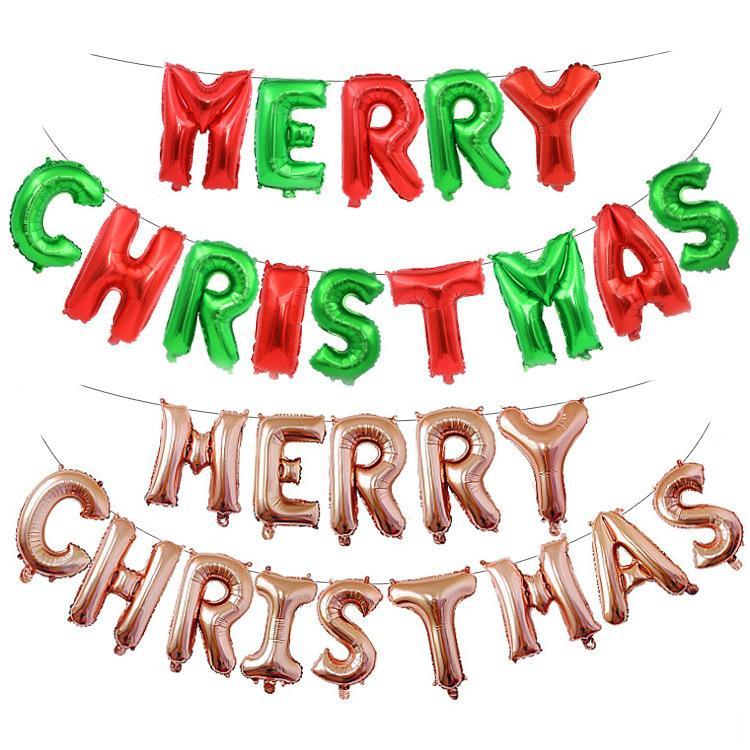 Wholesale 16 polegadas Balões de carta de natal folha de alumínio balão de ano novo decorações de festa