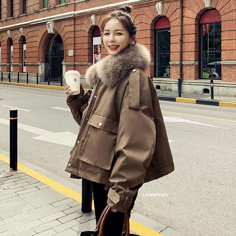 Coreano de 90% Mulheres Winter Vintage Duck Jacket real Fox Fur Quente gola do casaco grosso solto para baixo Parkas Casacos Yr267