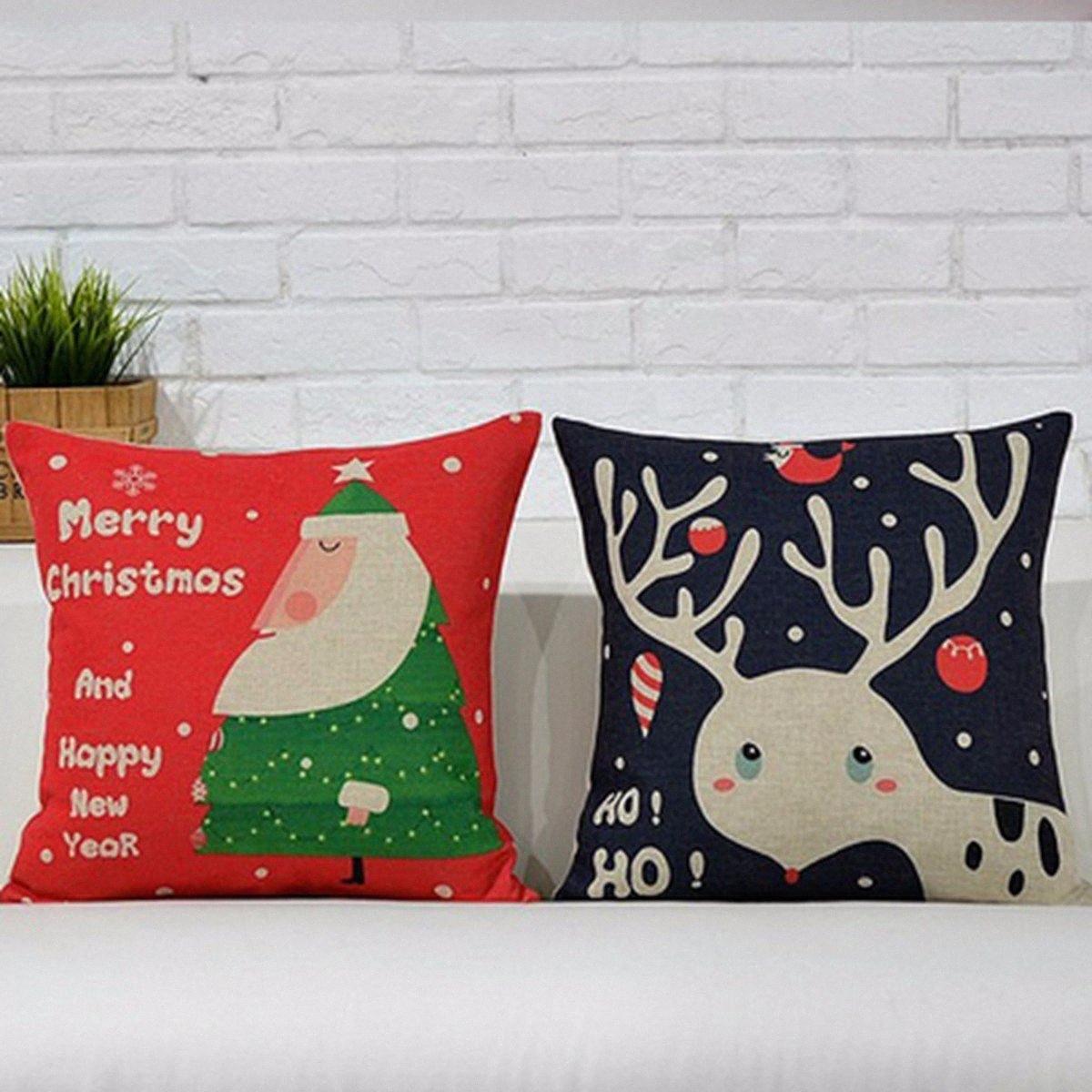 Großhandel Nordic Stil Christmas Series Kopfkissenbezug Leinenbaumwollder Weihnachten dekorative Kissen-Abdeckung für Heimzimmer Hotel Bürobedarf zu #
