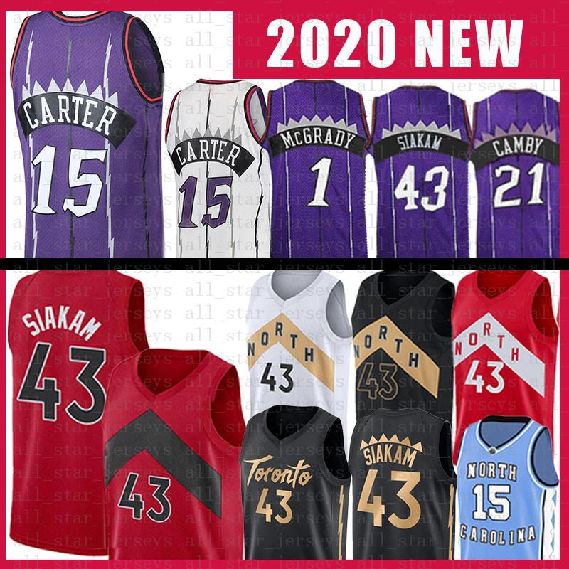 Toronto Raptors Pascal 43 Siakam Vince 15 Carter Basketball Jersey Tracy 1 McGrady Marcus 21 Camby Mens ADULT YOUTH KIDS JERSEY