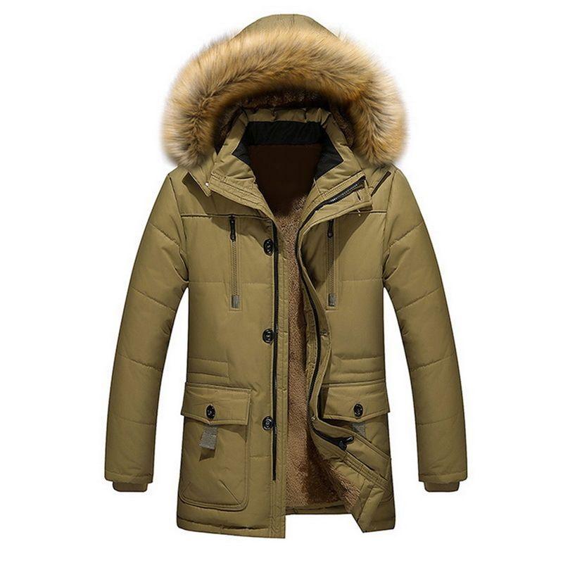 Длинные свободные теплые хлопчатобумажные мужские куртки Parkas Streetwearwinter мужские куртки и мода
