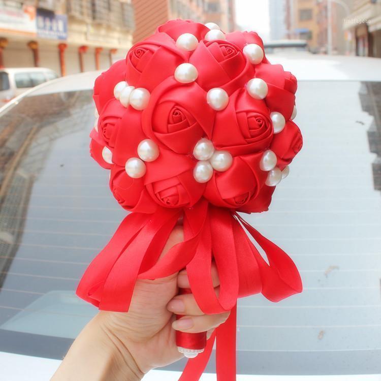 Красный цвет роза свадебный свадьба Bridal Bridemaid букет цветов размером 19x27см свадебный букеты рука держа цветок принимают пользовательский