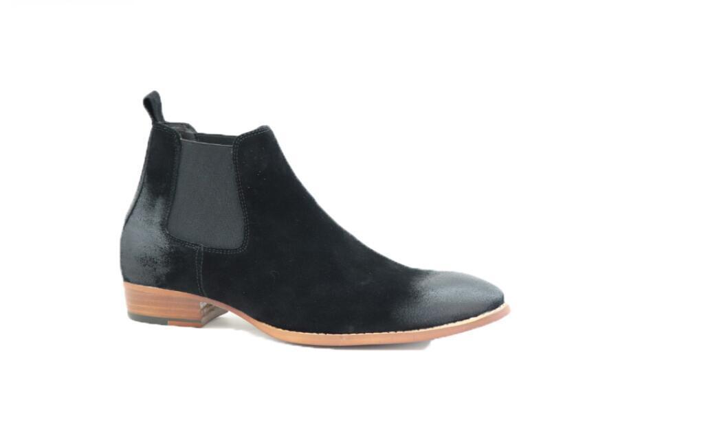 2020 Retro-Veloursleder Männer beuten rutscht auf Stiefel schwarz / grau / braun Ankle Boots Herren trand Partei Schuhe