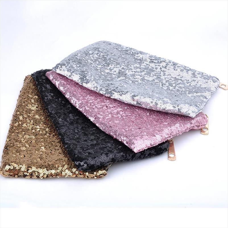 Kese Parti Zarf Makyaj El Çantaları için Sequins Kadınlar Kozmetik Makyaj Çantası Kadın Glitter Akşam Debriyaj Çanta Bling