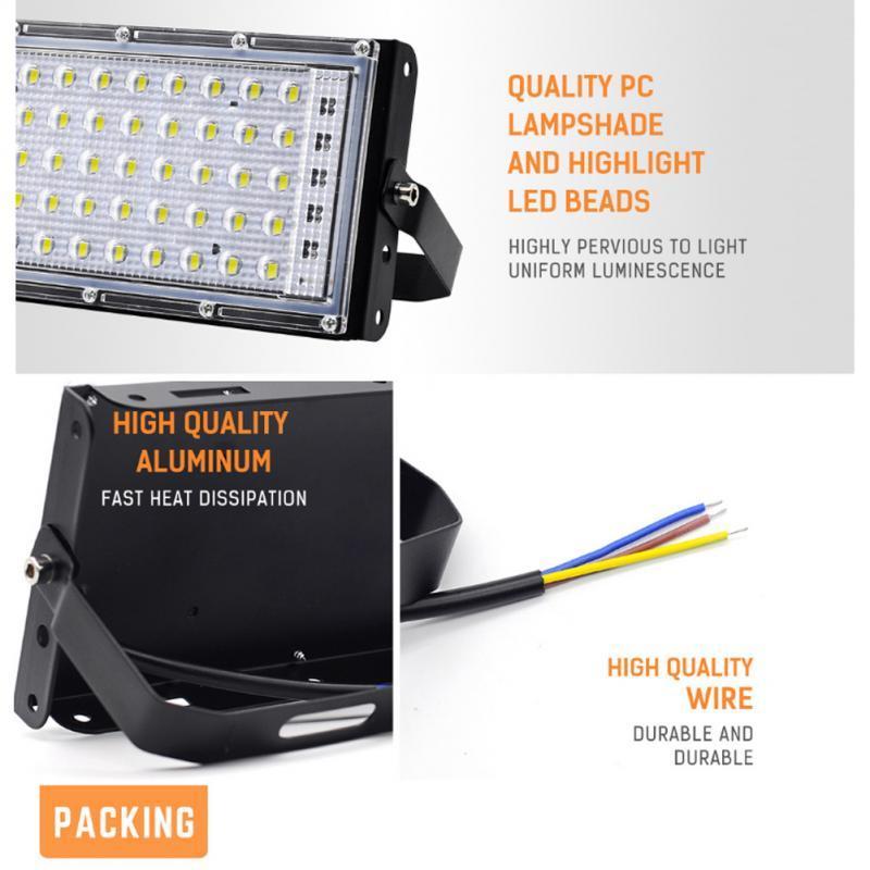 5 Color LED Prolotlight 50W Impermeabile IP65 Riflettore LED per esterni Lampada da giardino Lampada da giardino AC 220V Spotlight Street RGBCW Illuminazione