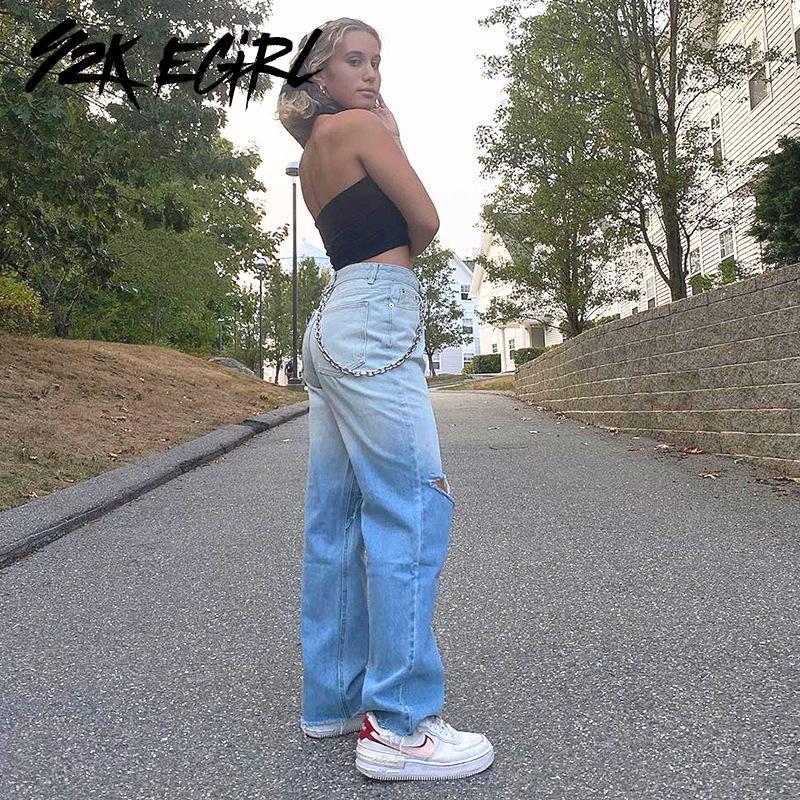 Y2K EGIRL Vintage Streetwear Gradiente Azul Calças de ganga largas anos 90 moda outono de cintura alta calças rasgadas Chic Demin Calças Casual