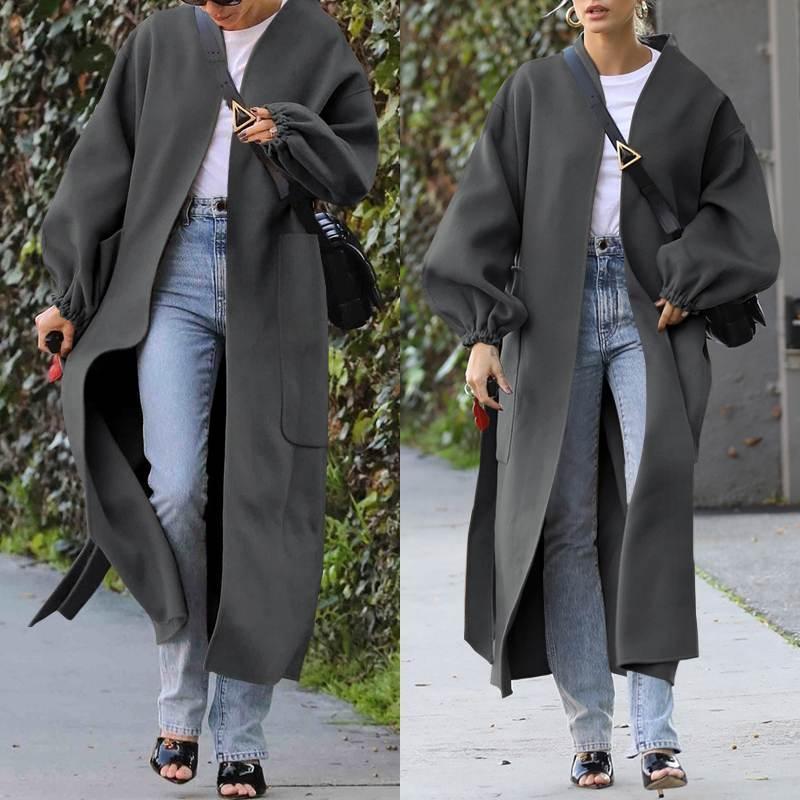 Женская шерстяная смесь женщины Корейский зимний длинный пальто Celmia Свободные плюс Размер кардиганы фонарика втулка в рукаве Minimalistic Элегантные пальто