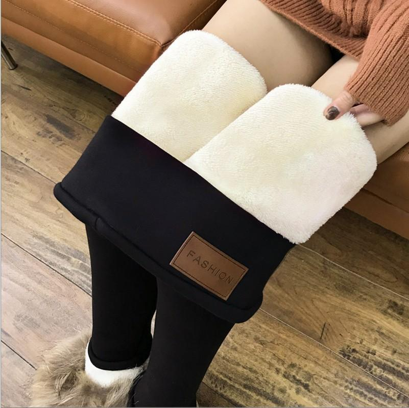 Normov Mulheres Inverno Quente Leggings Super-espesso Alta Estiramento Cordeiro Cashmere Leggins High Cintura Skinny Calças