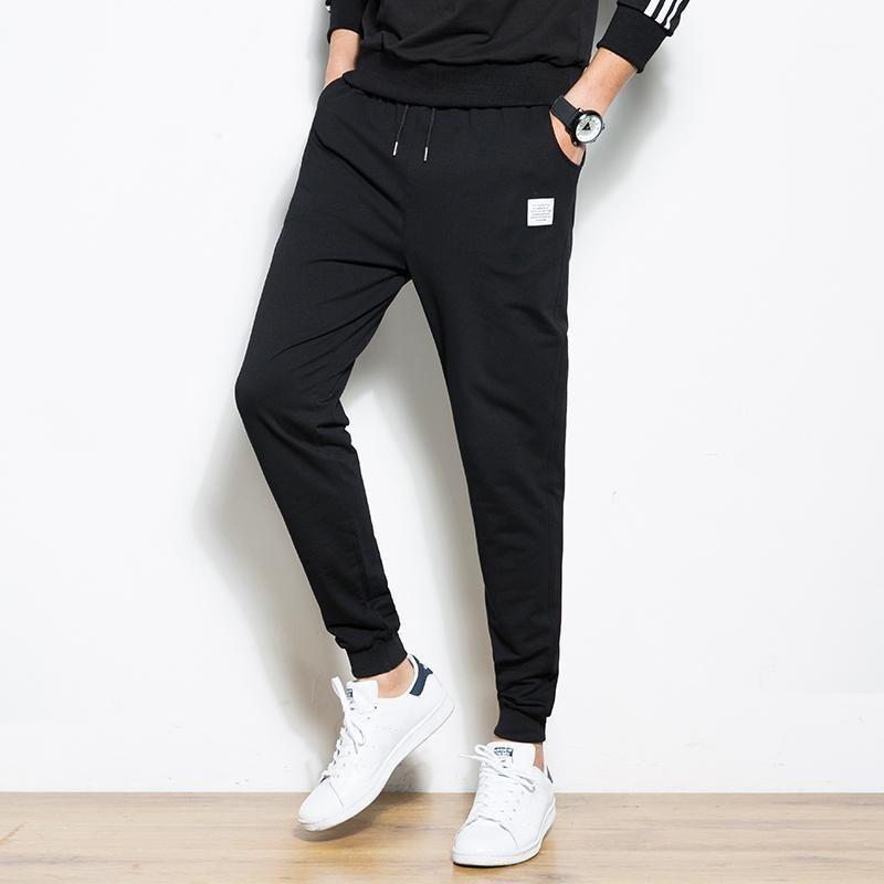 Мужчины Harem брюки 2020 Джоггер Брюки Мужчины Хлопок Удобные Удобные Упругие Талии Спортивные Сфальные Баты Сплошные Black Joggers1
