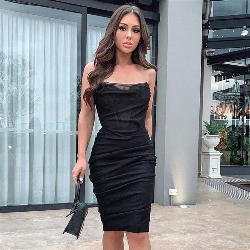 Black malha sem alças bandagem sexy vestido mulheres midi noite clube vestido de festa backless forro bodycon verão vestidos