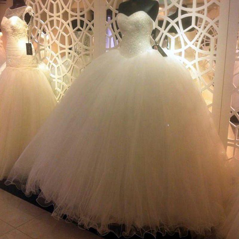 Blanc Tulle bling bling Paillettes perlée robe de bal Robes de mariée Robes lacent Retour robe de soirée jupe à volants Robes de mariée
