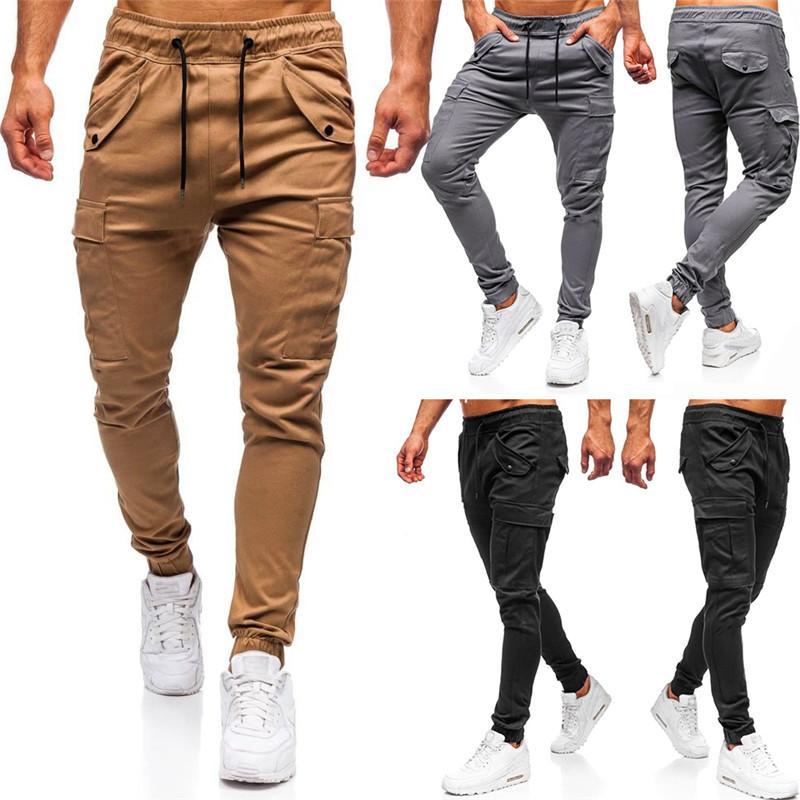 Katı Renk Erkek Tasarımcı Pantolon Moda Mulit Cepler Panelli İpli Erkek Pantolon Rahat Erkekler Spor Stil Giyim