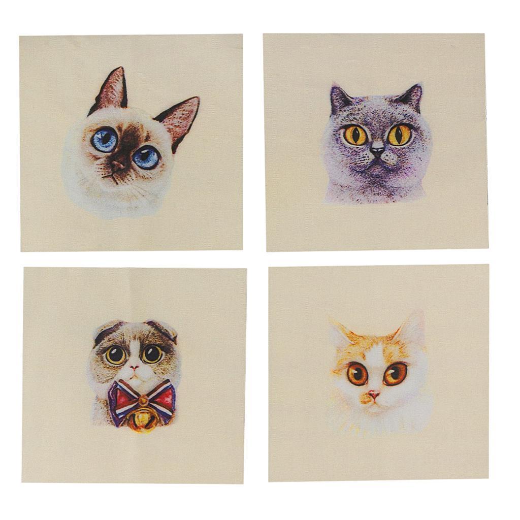 Retro Cats Padrão Mão de pano de algodão Mão Pintado DIY tecido Costura Artesanato 15x1