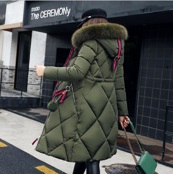 سميكة كبير معطف الفرو الشتاء النساء سترة خياطة ضئيلة معطف شتاء طويل إلى أسفل القطن السيدات أسفل سترة أسفل سترة النساء 2018
