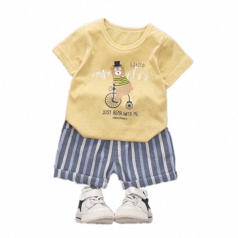 Bambini delle ragazze del ragazzo del fumetto di modo maglietta di nuova estate vestiti del bambino vestito Shorts 2Pcs / set del bambino casuale abbigliamento bambini Tute bDJR #