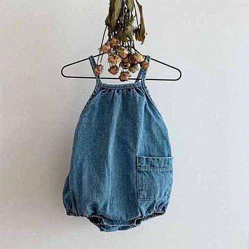 EnkeliBB unisex denim Sling camici del bambino sveglio del neonato vestiti casuali per Summer Infant Breve Dungaree coreano Japan Style 2f4T #