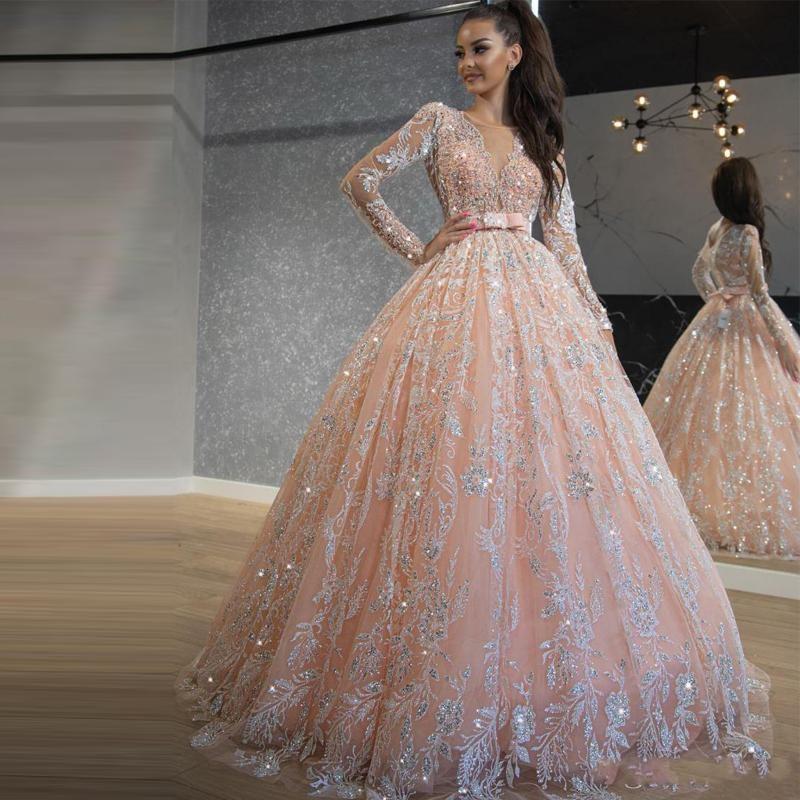 2021 Bambino rosa Quinceanera Abiti Paillettes Pizzo Abiti da ballo Abiti da ballo Prom Dresses Gioiello Neck Manica Lunga Dolce 16 Abito lungo Abbigliamento da sera formale