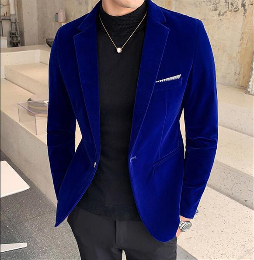 Chaqueta de traje de terciopelo de otoño e invierno para hombres Chaqueta de traje burdeos de hombre vestido formal color sólido más tamaño M-5XL
