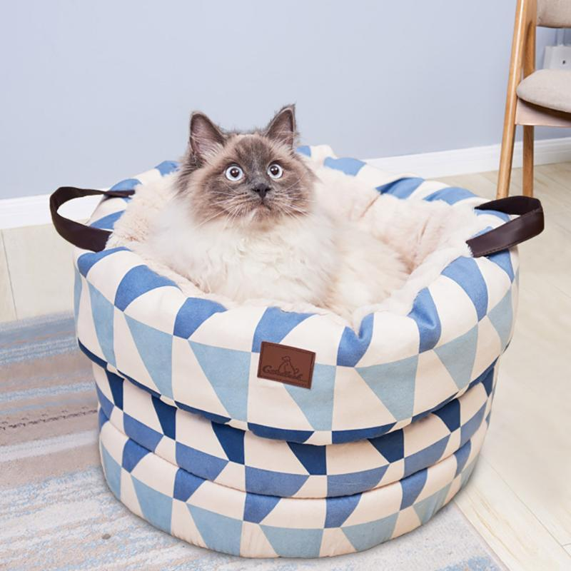 2020 Calda Cat Bed House Borsa a pelo portatile per animali domestici per cani per cani Piccoli Cats Hamster Morbido Stuoia Rimovibile Nest Kittentent Case con palla