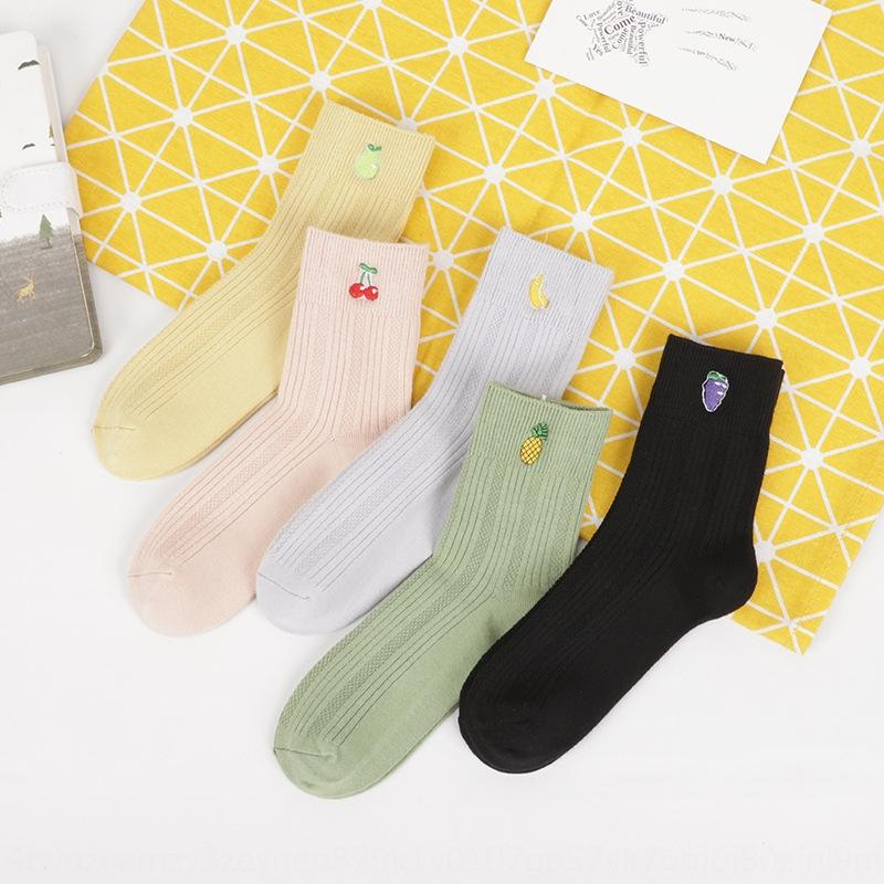 2020 otoño nueva fibra de bambú medio hembra mudell color de doble aguja calcetines Liaoyuan pino bordado tubo medio calcetines QXgI2