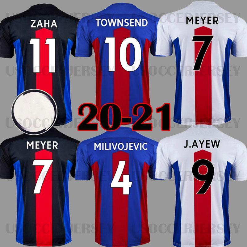 20 21 Jerseys de futebol 2020 2021 Home Away Zaha Milivojevic Tops J. Ayew Sakho Townsend Meyer Schlupp Men Kits Kits Tailândia Camisa de Futebol