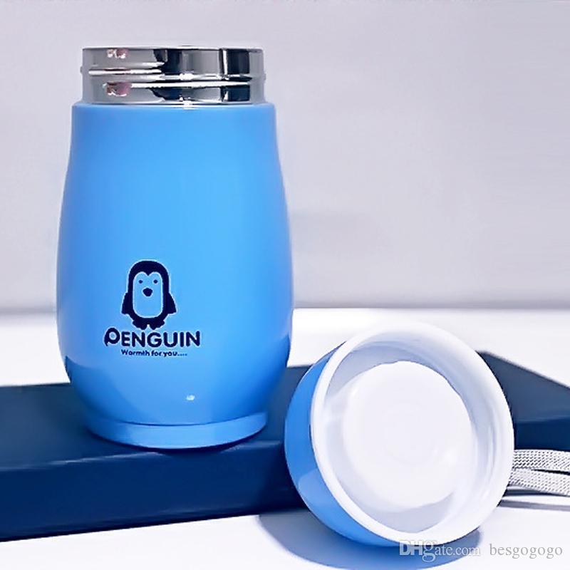 10 once Penguin Forma bottiglia di acqua in acciaio inox a doppio strato Vacuum Thermo Cup Portable Tumbler Viaggi Bere Kid Bibita Bottiglia Coppa VT0415