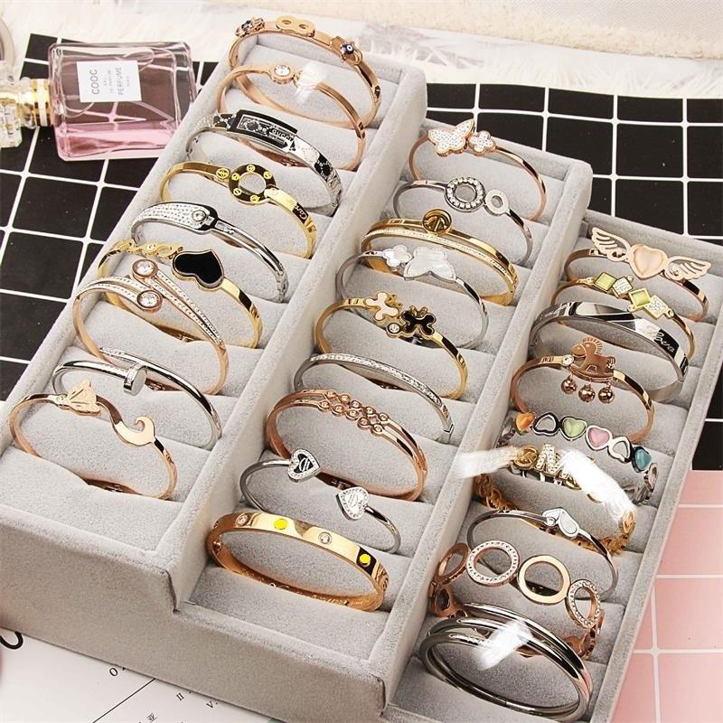 فتح صفعة التيتانيوم الصلب الإسورة ارتفع الذهب الفضة مزيج أنماط مختلفة الكريستال حجر الراين مجوهرات الكورية الأزياء سحر الإسورة فيديكس مجانا
