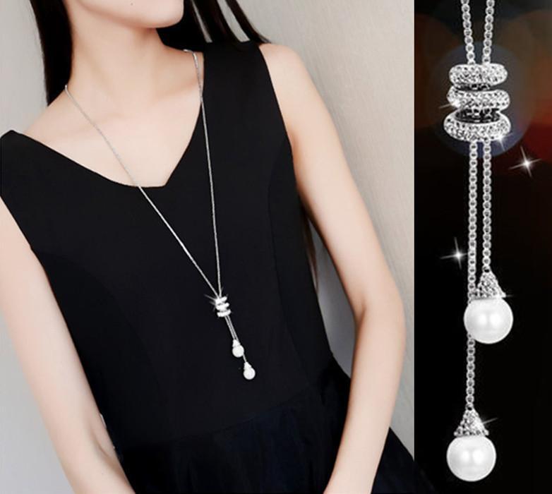 Neue südkoreanische Perle Diamant lange Pullover Kette Zubehör Mode Vielseitige Persönlichkeit Halskette Schmuck Halsketten