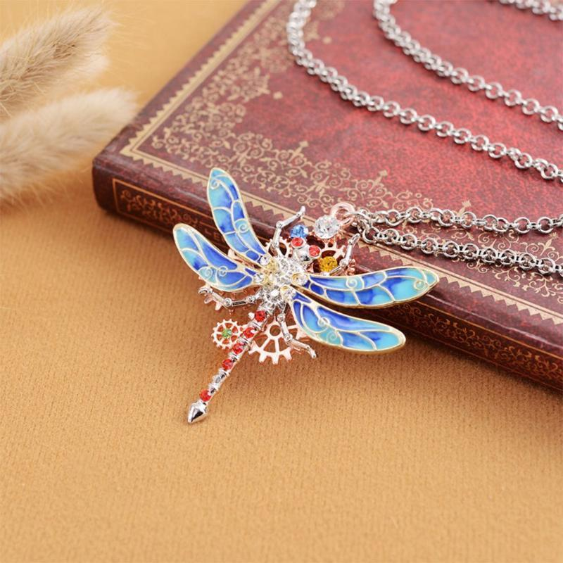 Цепи Gear с бриллиантами Цветные дракоковицы сплава подвеска ожерелье мода ювелирные изделия женские аксессуары оптом