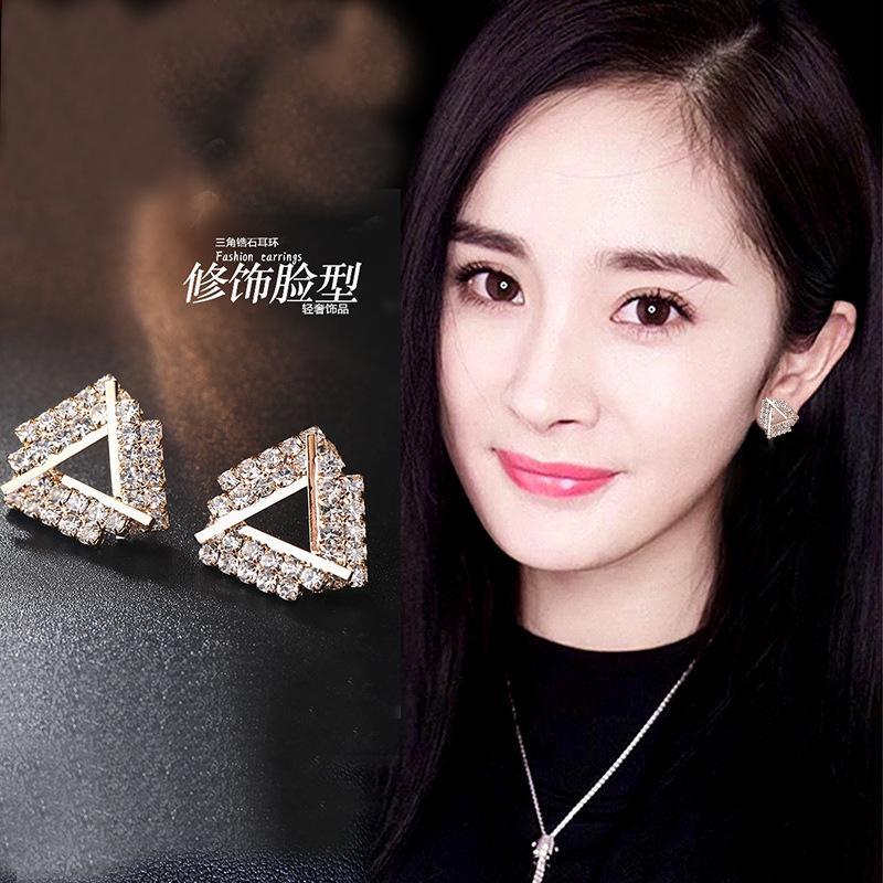 الكورية مثلث نقي Sier بسيطة الماس سوبر الجنية مزاجه شخصية تنوعي الأقراط تريندوتر الإناث