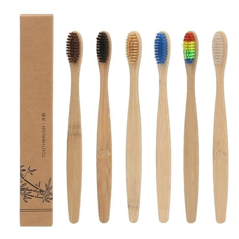 Hohe Qualität Bamboo Soft Nylon Capitellum Zahnbürste mit Box Verpackung Mundhygiene Whitening Zahnbürsten Hotel Nutzung