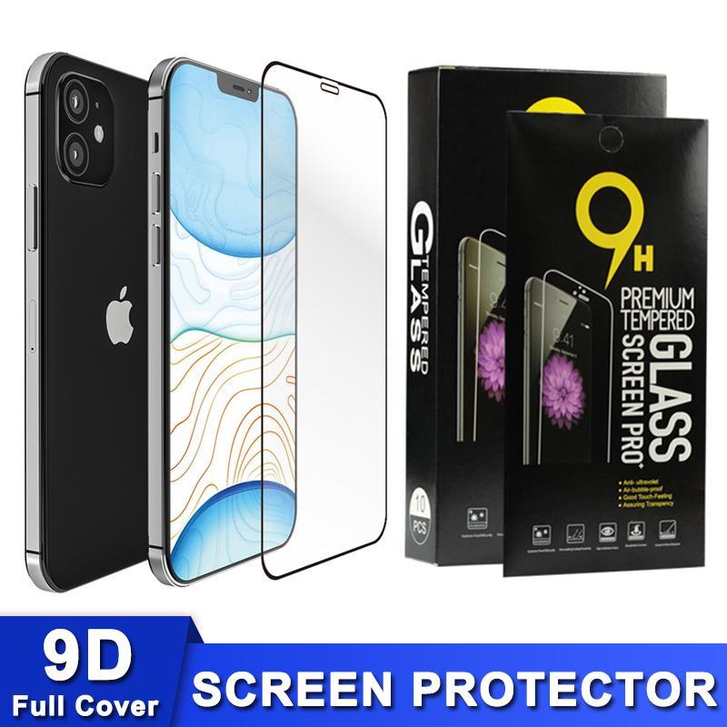 전체 커버 강화 유리 화면 보호기 아이폰 (12) (12) 미니 11 (11) 프로 제품과 함께 최대 XR X XS MAX 9D 9H의 0.3mm의 높은 품질