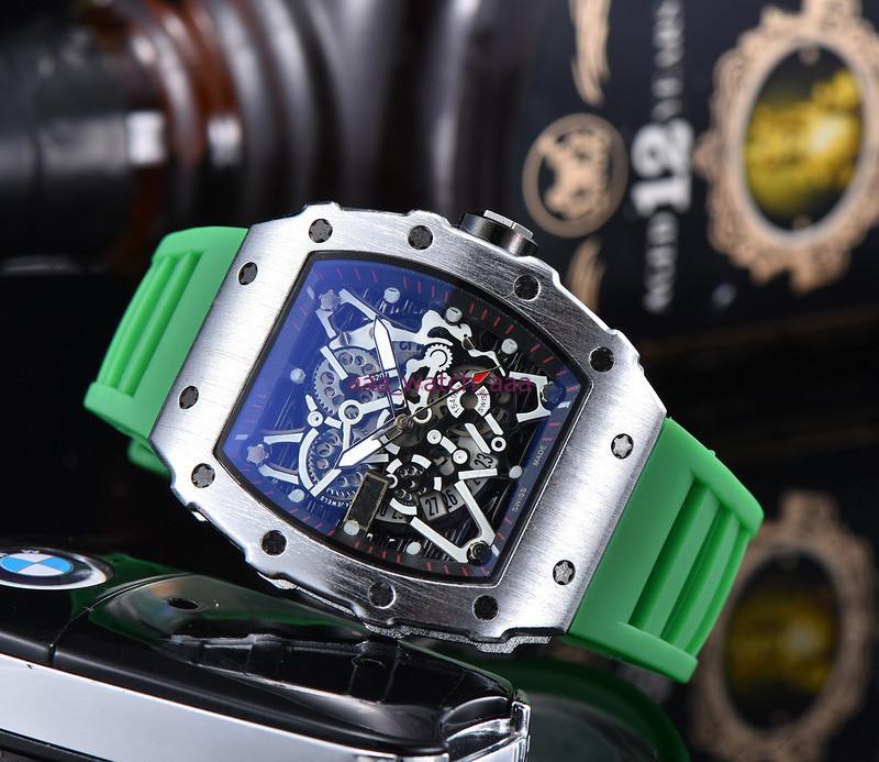 2020 Новый Top Luxury Мужские часы Кварцевый хронограф Швейцарский Р.М. Мужские наручные часы Iced Out Hip Hop каучуковый ремешок Спорт Мужчины Часы Мужчины часы