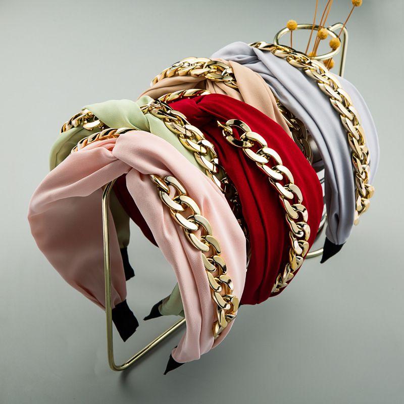 Chaînes en or Bandeaux Hoop pour les femmes Top noueuse Bandeau Punk Turban hairband Filles Accessoires cheveux