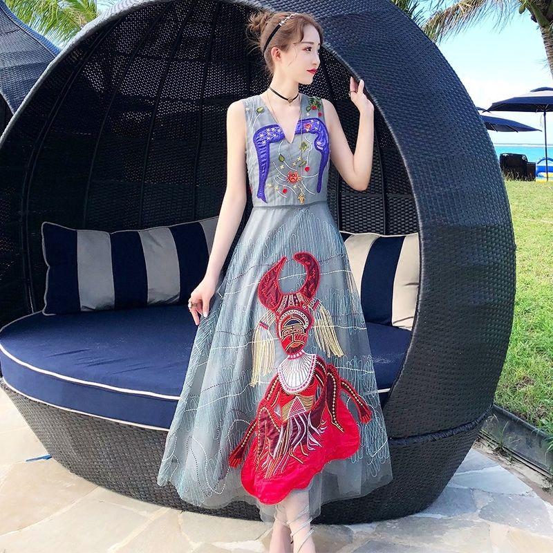 Yeni Lüks Tasarımcı Kadın Nakış Maxi Longo Seksi Süslemeleri Kemer Dressed Pist Butik Kadın Parti Infinity Elbise K1I8
