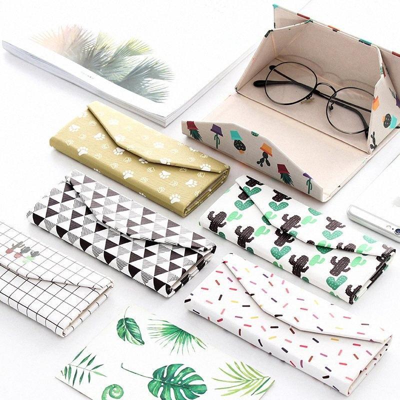 Mode Creative Petit frais PU pliant Lunettes Boîte de rangement portable de stockage Table Outil de utilitaire Boîte école Fournitures de bureau 4dpU #