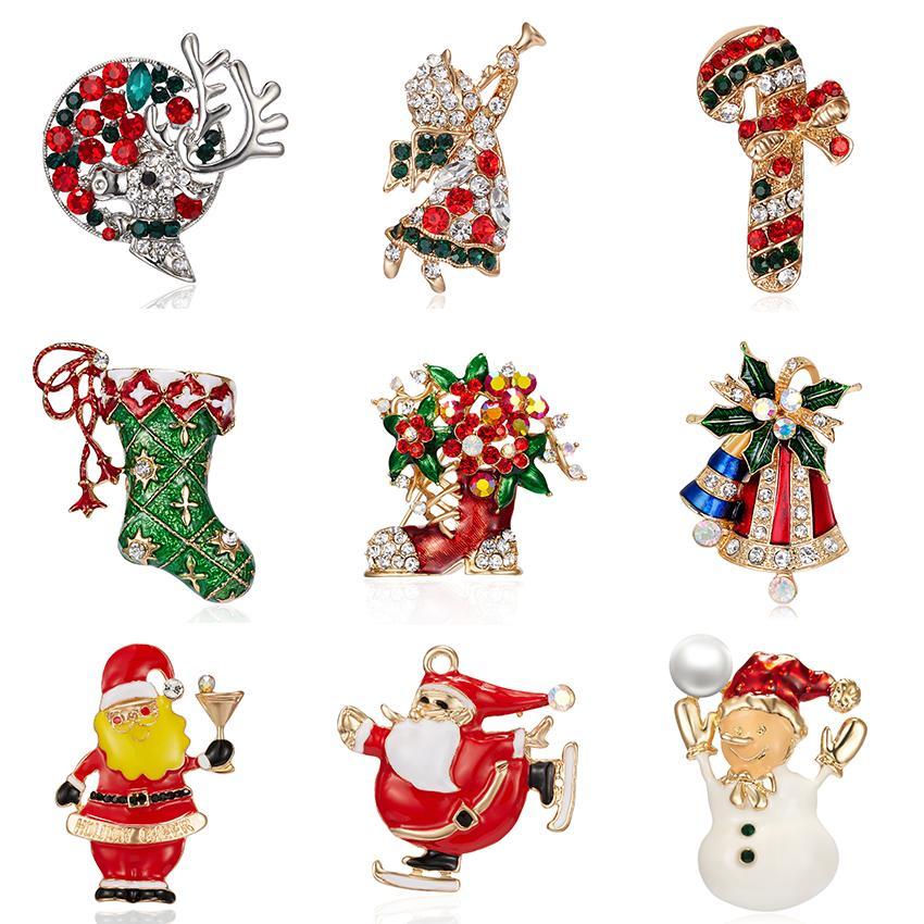 Emaille Weihnachtsbaum Socken Schneemann Weihnachtsmann Engel Brosche Weihnachten Jingle Bells Stiefel Broschen Charme-Kristall Weihnachtsgeschenke
