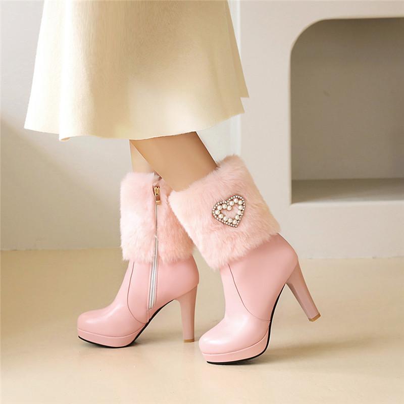 Womens botas YQBTDL Moda High Heel Ankle-de-rosa branca da pele do falso Platform Crystal Bead Botim para sapatas Mulheres de Inverno Big Size