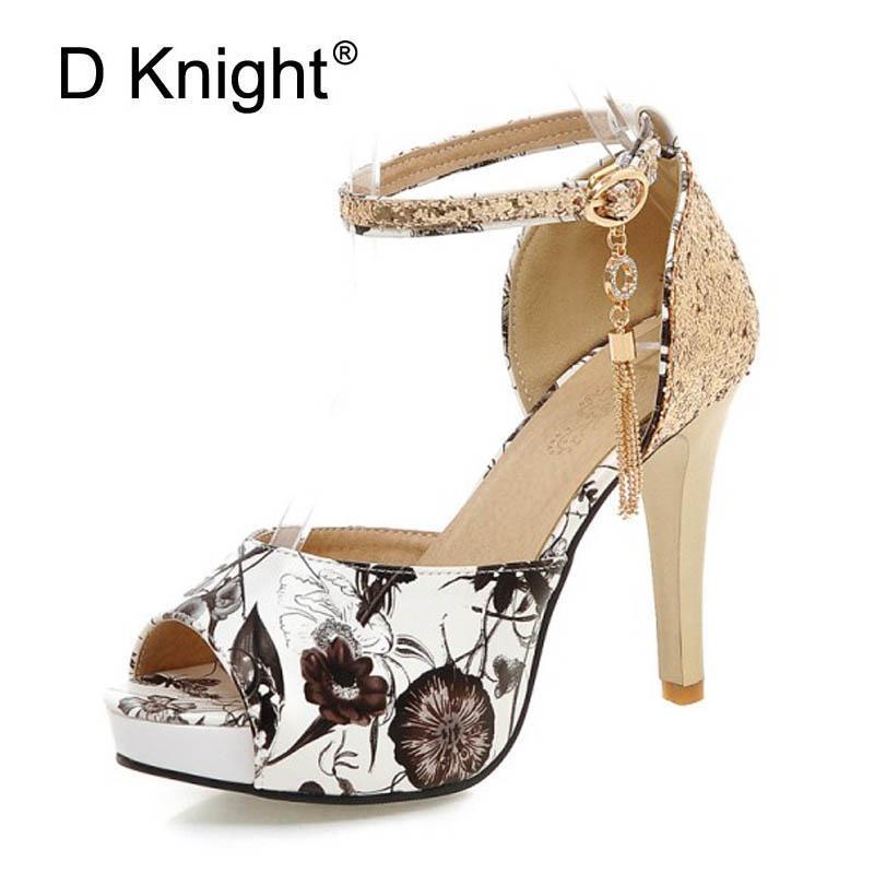 Zapatos de vestir Glitters de verano Gladiador Sandalias Plataforma Mujer Casual Hebilla Tacones altos Tallas grandes 30-47 Bombas de Boda de Boda