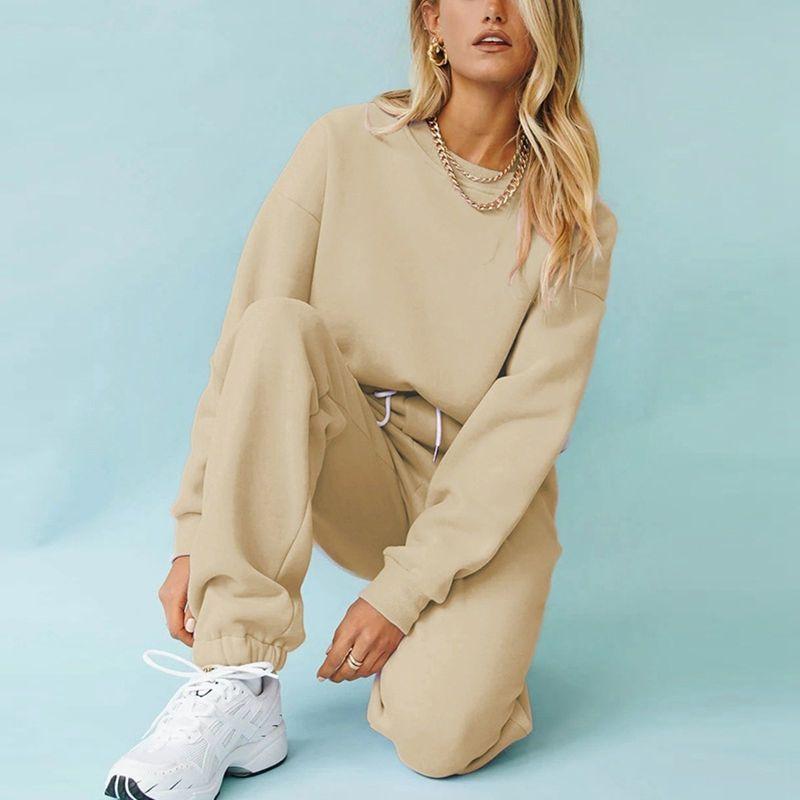 Mulheres Tracksuits Fleece Moletom Com Capuz Moda 2020 Outono Inverno Das Senhoras Pulôver Quente Oversize Hoodies Solid Jaqueta MSFilia
