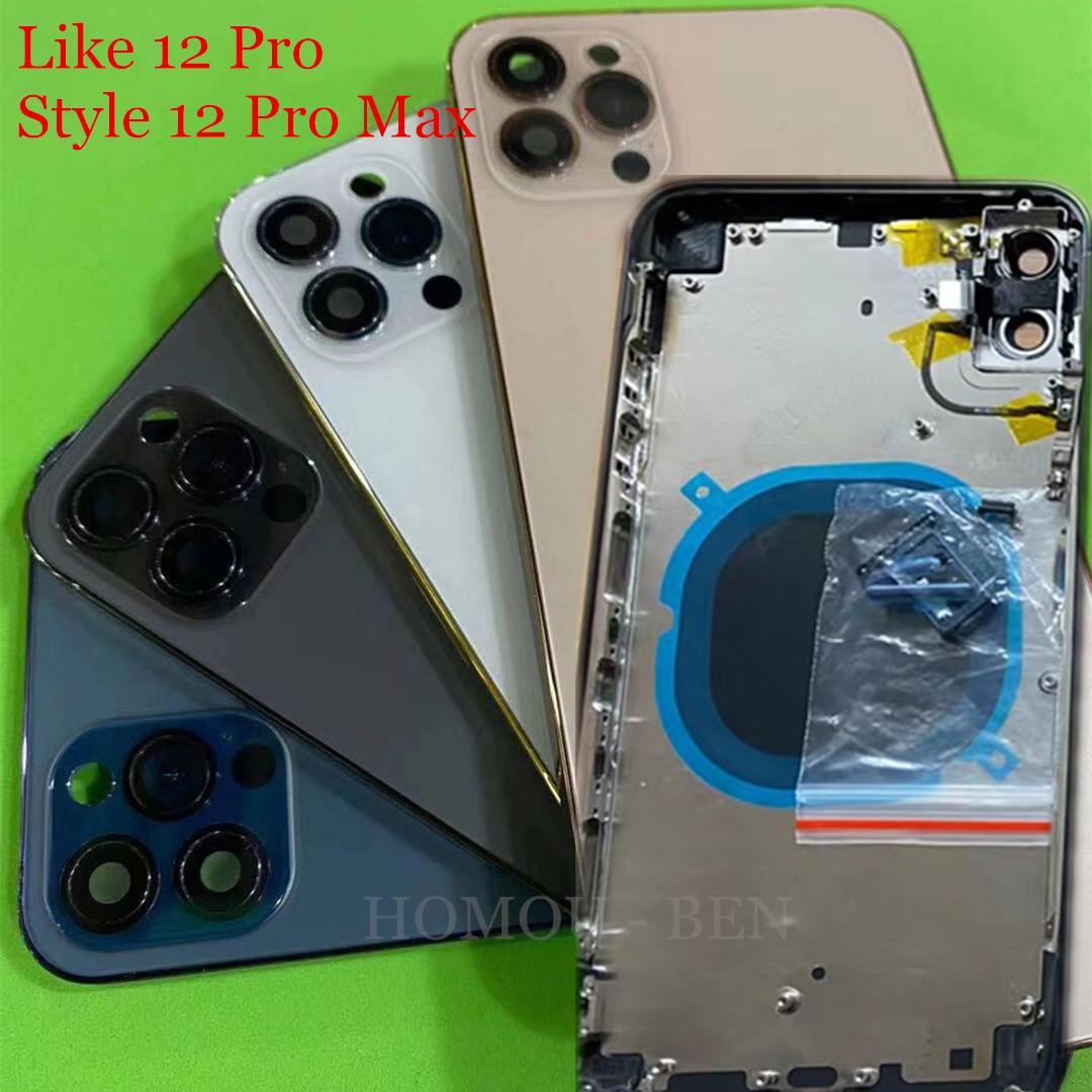 2021 Yeni iPhone x XS Max Gibi 12 Pro Stil 12 Pro Arka Arka Kapak Pil Konut Kapı Şasi Orta Çerçeve