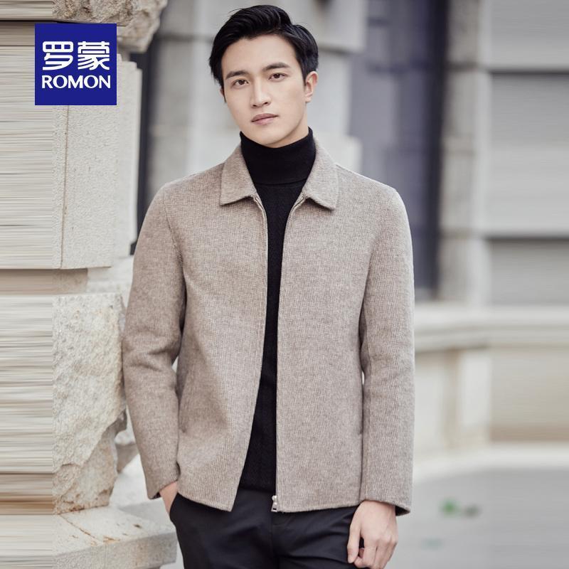 Romon 2020 inverno novos homens de Negócios Lazer Lapel Wool Jacket casaco de lã Brasão 6J026187