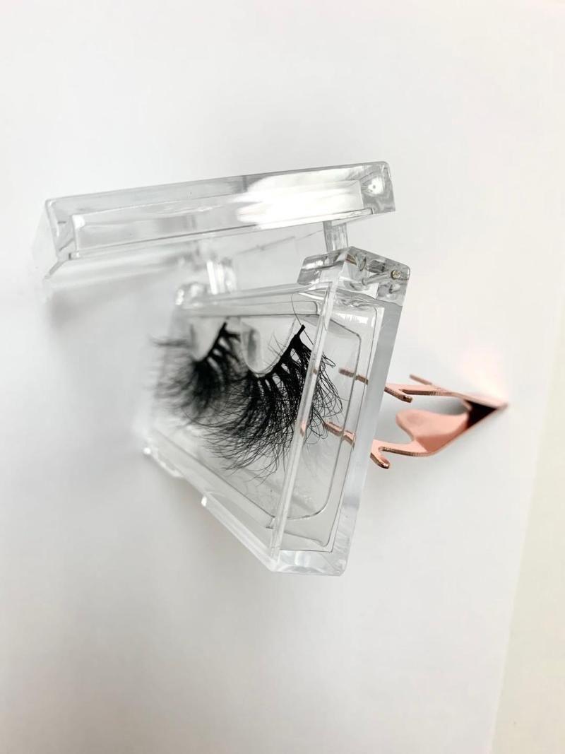 In USA Wholesale Eyelash Packaging Box Lash Boxes Packaging 25mm Mink Lash Case Acrylic sliding plastic clear Empty case
