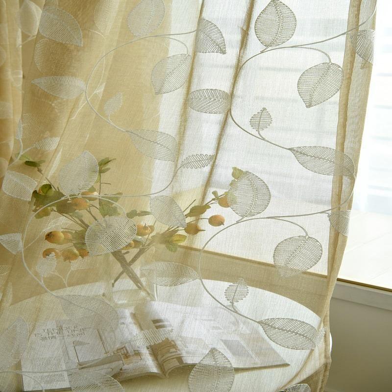 Janela cortina bordado tule voile curtainsterylene fios cortinas haste bolso para sala de estar quarto pronto feito sob encomenda