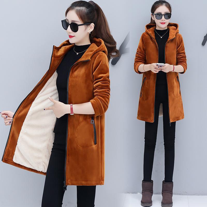 Tendência produtos Hoodies para meninas Outono Inverno Mulher casaco Add lã quente jaqueta estilo Pleuche coreana hoodies Grosso B4205 201008