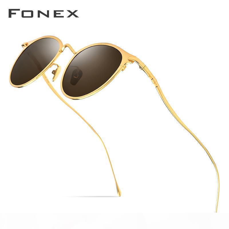 Fonex Pure Titanium Lunettes de soleil Hommes Haute Qualité Ronde Polarisée Verres Sun pour Femmes 2019 Nouveau miroir UV400 Corée Eyewear 8509 WABZP