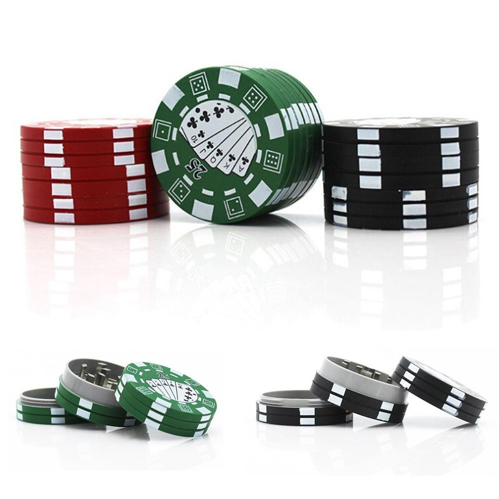 Poker Chip Style 40 mm 3 Parts Herb Grinder Aluminium Tobacco Crusher Smoking Accessories 3 Colors