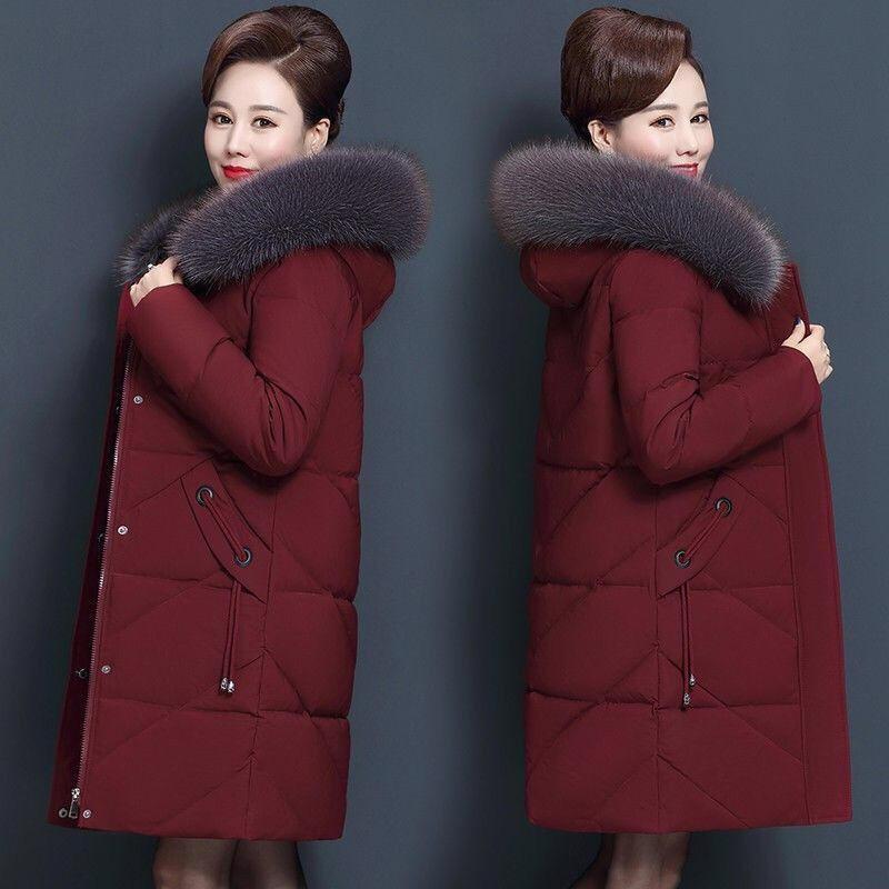 Capa de las mujeres del collar más el tamaño de la piel de 7xl 8XL Medio Envejecido capucha de la chaqueta de invierno para mujer Parka Larga Abajo Abrigo de algodón caliente C5865