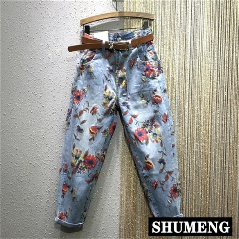 Flor jeans mujer primavera nuevo cintura alta de alta cintura pantalones de harén de alta cintura personalidad Pantalones de mezclilla impresos Pantalones de jeans femeninos Femme 201225